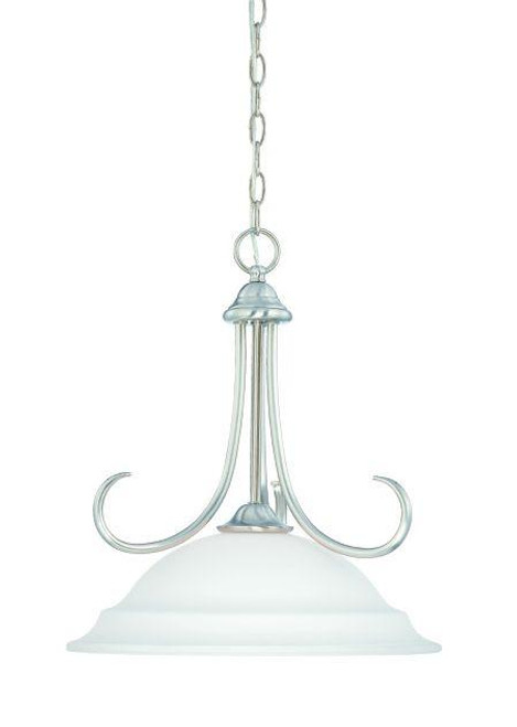 Bella 18in One-light pendant in Brushed Nickel finish with etched glass SL891678