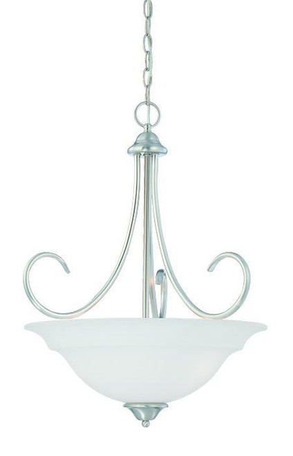 Bella 24.25in Three-light pendant in Brushed Nickel finish with etched glass SL891778