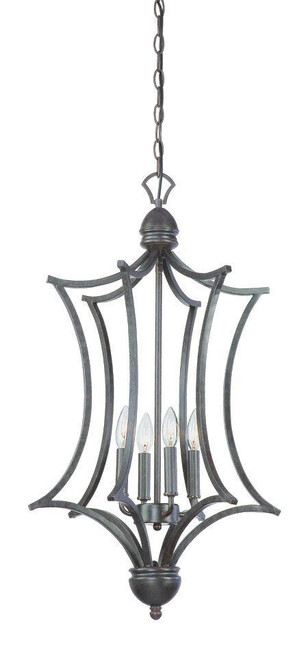 Four-light cage foyer pendant in Sable Bronze finish. SL893622