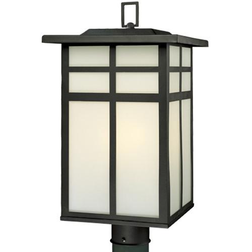 Three-light outdoor post lantern in Matte Black finish with cream colored glass. SL90067