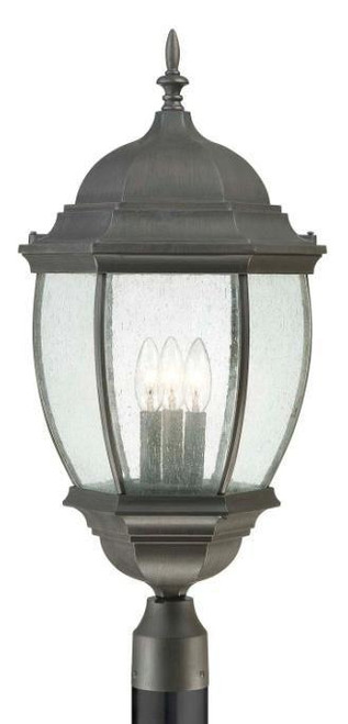 One-light die-cast aluminum outdoor post lantern in Painted Bronze finish with clear beveled glass SL901063