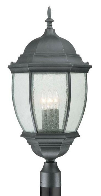 One-light die-cast aluminum outdoor post lantern in Matte Black finish with clear beveled glass SL90107