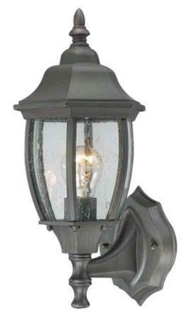 COVINGTON 14.25in One-light die-cast aluminum outdoor wall lantern in Painted Bronze finish with seedy glass SL922363