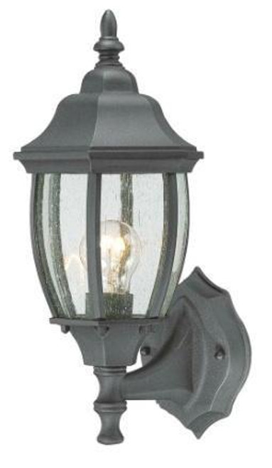 COVINGTON 14.25in One-light die-cast aluminum outdoor wall lantern in Matte Black finish with seedy glass SL92237