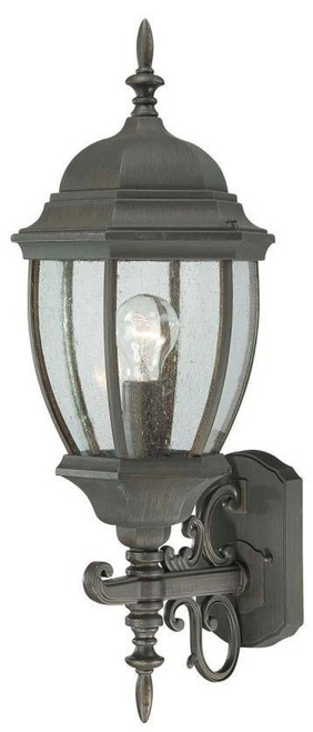 COVINGTON 21.5in One-light die-cast aluminum outdoor wall lantern in Painted Bronze finish with seedy glass SL922563
