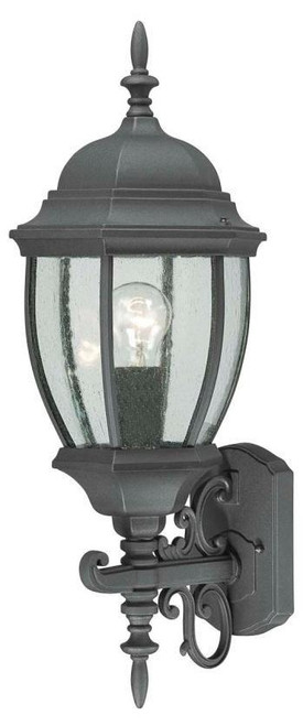 COVINGTON 24in One-light die-cast aluminum outdoor wall lantern in Matte Black finish with seedy glass SL92277