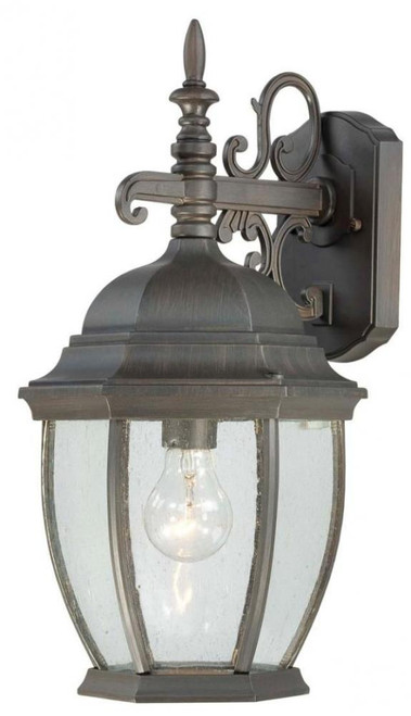 COVINGTON 16in One-light die-cast aluminum outdoor wall lantern in Painted Bronze finish with seedy glass SL922863