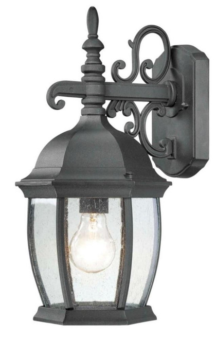 COVINGTON 16in One-light die-cast aluminum outdoor wall lantern in Matte Black finish with seedy glass SL92287