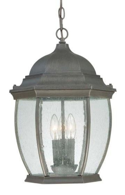One-light die-cast aluminum outdoor pendant lantern in Painted Bronze finish with clear seedy glass SL923363