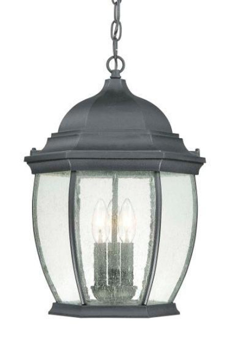 One-light die-cast aluminum outdoor pendant lantern in Matte Black finish with clear seedy glass SL92337