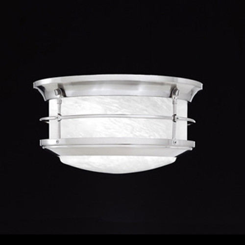 Two-light outdoor ceiling fixture in Brushed Nickel finish with etched alabaster style glass SL928378