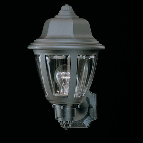 Essentials 13.5in One-light, durable Black plastic outdoor wall fixture SL94407