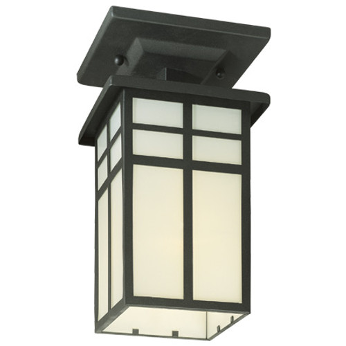 One-light outdoor semi-flushmount in Matte Black finish with cream colored glass. SL96657