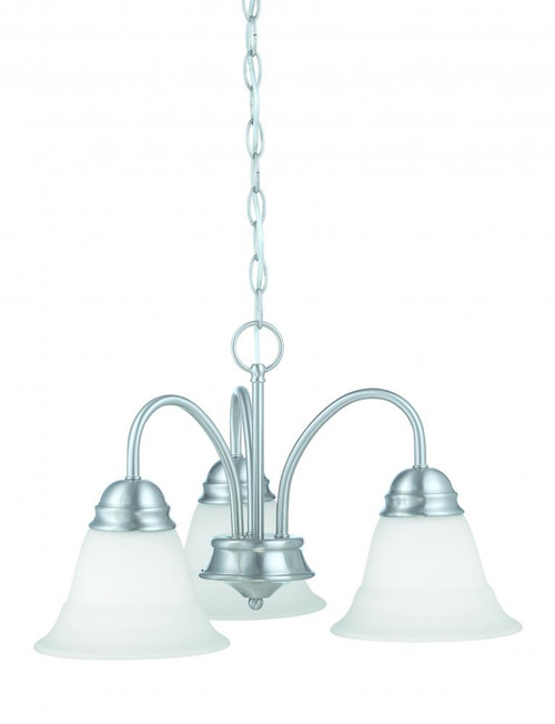 Bella 11.75in Three-light chandelier in Brushed Nickel finish with etched glass TK0003217
