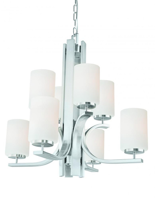 Eight-light chandelier in Brushed Nickel finish with etched glass. TK0008217