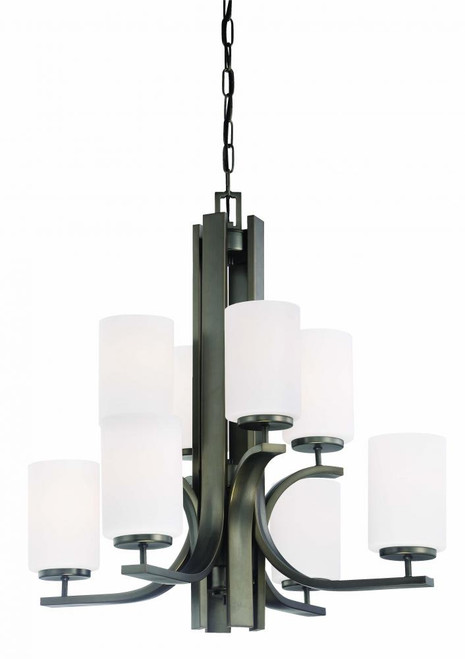 Eight-light chandelier in Oiled Bronze finish with etched glass. TK0008715