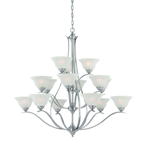 Fifteen-light chandelier in Brushed Nickel finish with alabaster-style glass. TK0023217