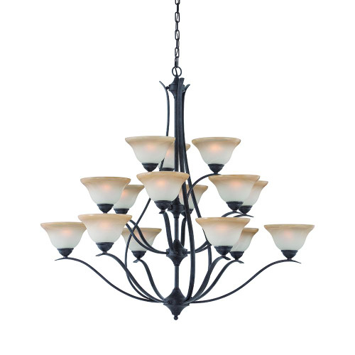 Fifteen-light chandelier in Sable Bronze finish with Cognac edged alabaster-style glass. TK0023722