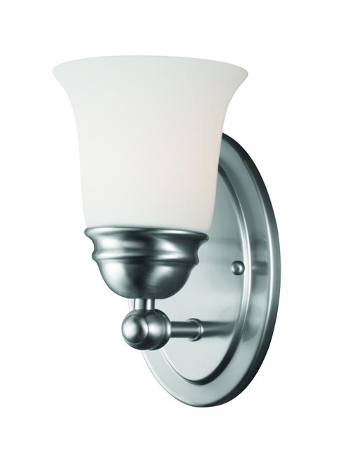 Bella 9in One-light wall sconce in Brushed Nickel finish with etched glass TN0003217