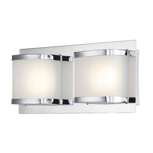 Bandeaux 2 Light LED Vanity In Chrome And Opal Glass BVL4002-10-15