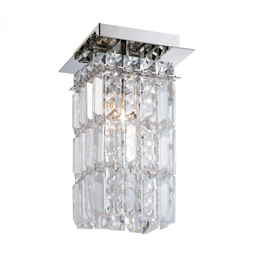 King 1 Light Flushmount In Chrome And Clear Crystal Glass FM1201-0-15