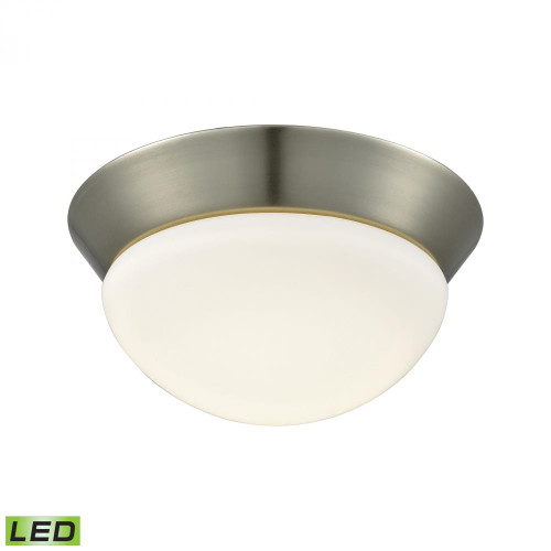 Contours 1 Light LED Flushmount In Satin Nickel And Opal Glass - Small FML7125-10-16M