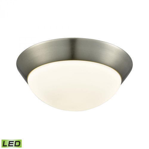 Contours 1 Light LED Flushmount In Satin Nickel And Opal Glass - Medium FML7150-10-16M