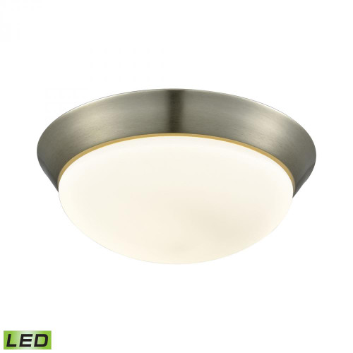 Contours 1 Light LED Flushmount In Satin Nickel And Opal Glass - Large FML7175-10-16M