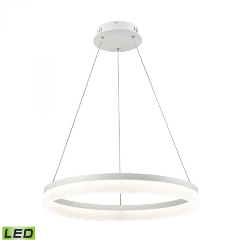 Cycloid 1 Light LED Pendant In Matte White With Acrylic Diffuser - Medium LC2301-N-30