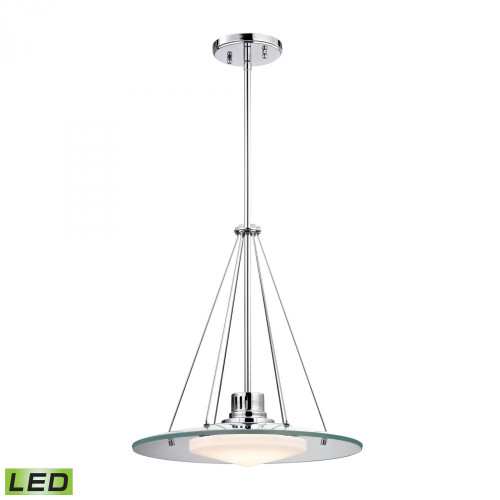 Tribune 1 Light LED Pendant In Chrome And Opal Glass LC414-PW-80