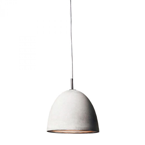 Castle 1 Light Pendant In Poured Concrete With Chrome Reflector - Medium PS4702-140-15