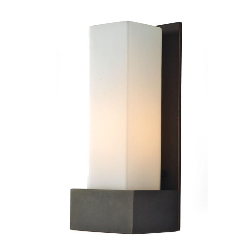 Solo Tall 1 Light Sconce In Oil Rubbed Bronze With White Opal Glass WS121-10-45