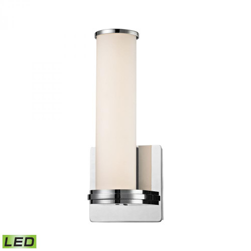 Baton 1 Light LED Wall Sconce In Chrome And White Opal Glass WSL1301-10-15