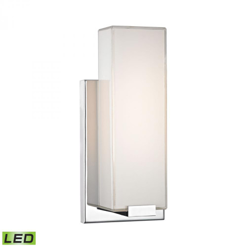 Midtown 1 Light Wall Sconce In Chrome And Paint White Glass WSL1601-PW-15