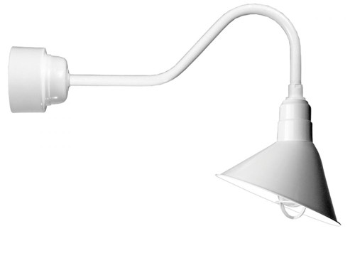 """12"""" Angle Shade, Gooseneck Arm and Frosted Glass with Cast Guard in Marine Grade White using 32w A812-32WPL-RTC-E6-100GLFR-GUPC-107"""