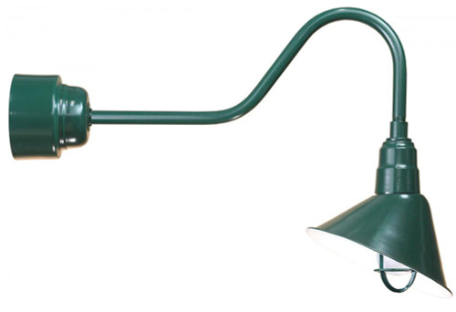 """12"""" Angle Shade, Gooseneck Arm and Frosted Glass with Cast Guard in Forest Green using 32w A812-32WPL-RTC-E6-100GLFR-GUPC-42"""