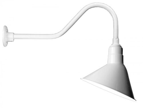 "12"" Angle Shade and gooseneck Arm in Marine Grade White with medium base socket A812-E6-107"