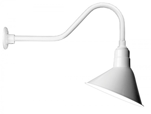 """12"""" Angle Shade and gooseneck Arm in White with medium base socket A812-E6-44"""
