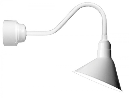 """12"""" LED Angle Shade and gooseneck arm in Marine Grade White with 16w LED module A812-M016LDNW40K-RTC-E6-107"""
