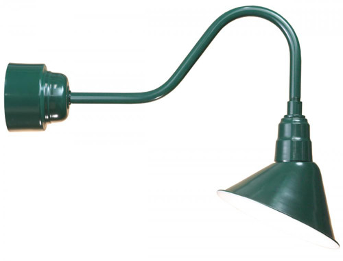 """12"""" LED Angle Shade and gooseneck arm in Forest Green with 16w LED module A812-M016LDNW40K-RTC-E6-42"""
