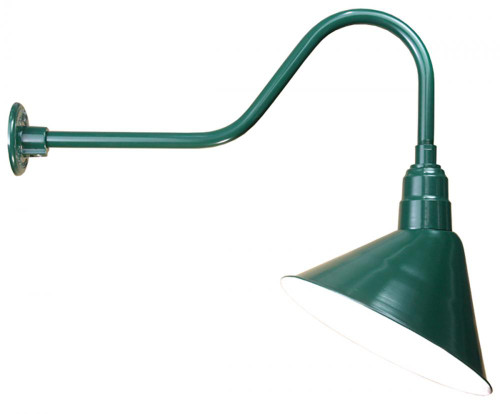 """14"""" Angle Shade and Arm in Marine Grade Forest Green with medium base socket A814-E6-102"""