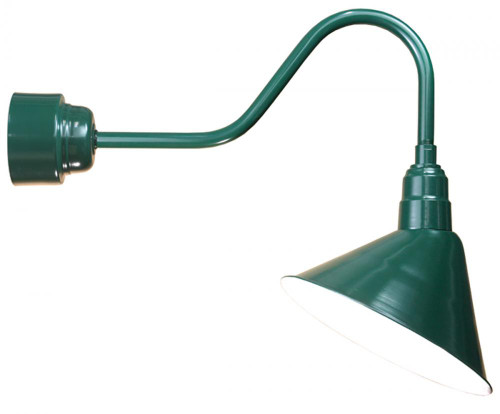 """14"""" LED Angle Shade and gooseneck arm in Marine Grade Forest Green with 16w LED module A814-M016LDNW40K-RTC-E6-102"""