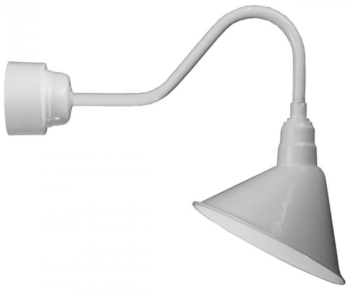 """14"""" LED Angle Shade and gooseneck arm in Marine Grade White with 16w LED module A814-M016LDNW40K-RTC-E6-107"""