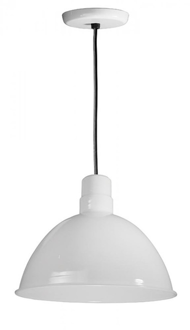 """16"""" Deep Bowl Shade on a Black Cord with canopy using a medium base socket in White D616-BLC-44"""