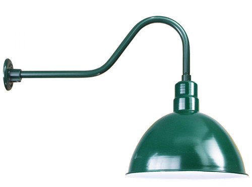"""16"""" Deep Bowl Shade with Arm in Forest Green D616-E6-42"""