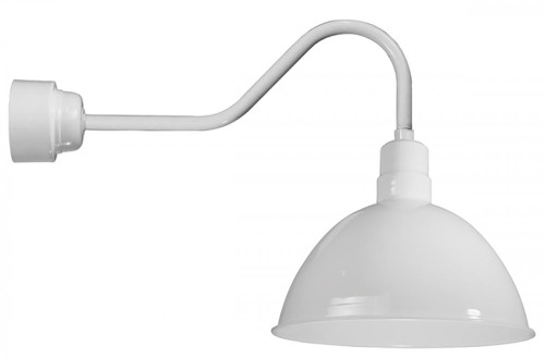 """16"""" Deep Bowl Shade in Marine Grade White, mounted on a gooseneck arm using a 16w LED module D616-M016LDNW40K-RTC-E6-107"""