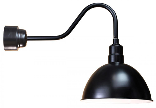 "16"" Deep Bowl Shade in Black mounted on a gooseneck arm using a 16w Cree LED module D616-M016LDNW40K-RTC-E6-41"