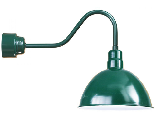 "16"" Deep Bowl Shade in Forest Green, mounted on a gooseneck arm using a 16w LED module D616-M016LDNW40K-RTC-E6-42"