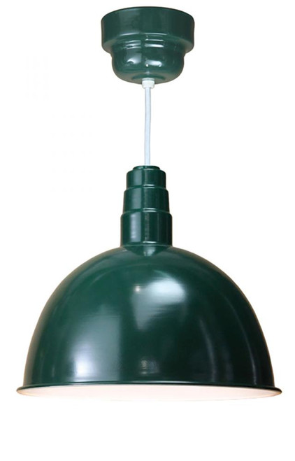 "18"" Deep Bowl Shade in Marine Grade Forest Green on a White cord using 24w LED module D618-M024LDNW40K-RTC-WHC-102"