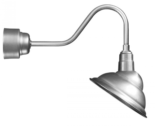 """14"""" Rounded LED Emblem Shade with gooseneck arm extension in Black including Driver Housing for"""